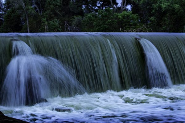 Limpopo river over flowing a weir.