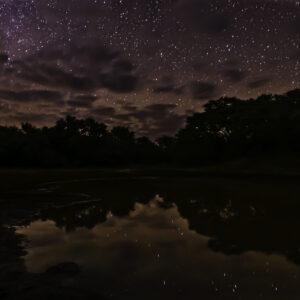 Small dam stars reflection